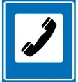Phone sign on blue traffic sign vector image vector image