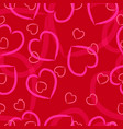 pink hearts on a red background vector image vector image