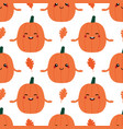 pumpkin characters and oak leaves pattern vector image vector image