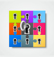 puzzle infographics with key art vector image vector image