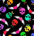seamless pattern funny skulls and winged hearts vector image