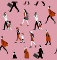 seamless pattern people walking families vector image