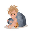 stone age cave boy sitting and playing stones vector image vector image