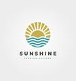 sun and waves icon logo symbol design vintage vector image vector image