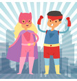 superhero kids in costumes for vector image