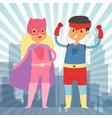 superhero kids in costumes vector image