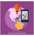 technology start up application hand press the but vector image