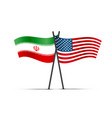 usa and iran crossed flags isolated on white vector image