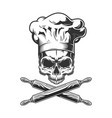 vintage chef skull without jaw vector image