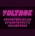 voltage neon light alphabet realistic extra vector image vector image