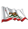 waving flag of the state of california vector image vector image