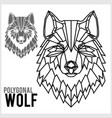 wolf head in polygonal style polygonal animals vector image vector image