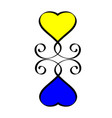 yellow and blue heart love hand drawn sign hearts vector image vector image