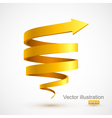 Yellow spiral arrow 3D vector image vector image