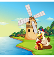 A duck reading a book near the windmill vector image