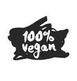 100 percent vegan label on a black scribble vector image vector image