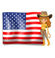 A cowgirl and the United States of America flag vector image vector image