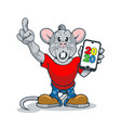 a rat with a surprised face and a smartphone in vector image