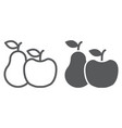 apple and pear line and glyph icon food vector image vector image