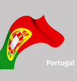 background with portugal wavy flag vector image vector image
