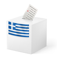 Ballot box with voicing paper Greece vector image vector image