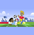 cartoon soccer kids playing soccer game vector image