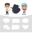 Casually Dressed Characters with a Speech Bubbles vector image