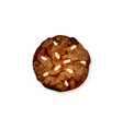 chocolate cookie with almond vector image