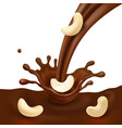 chocolate splash and cashew nut realistic vector image vector image