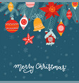 christmas background greeting card with lettering vector image vector image