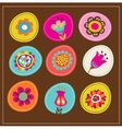 collection of cute decorative flowers greeting car vector image