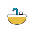 color sections silhouette of washbasin icon vector image vector image