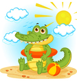 Crocodile on the beach vector image