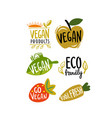eco emblem with text organic signs for products vector image vector image