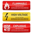 Flammable High Voltage Explosive - Danger sign set vector image vector image