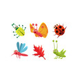 flat set cute insects and red leaf vector image vector image