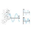 fragmented dot halftone sine plot icon vector image vector image