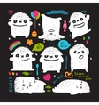 funny cute little white on black monster holiday vector image vector image