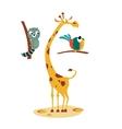Giraffe Lemour and Bird in vector image