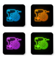 glowing neon drill machine and gear icon isolated vector image vector image