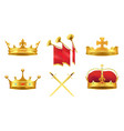 gold kings medieval attributes set vector image vector image