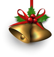 Golden shiny christmas bells vector image vector image