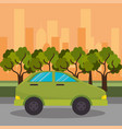 green car road street city vector image