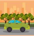 green car road street city vector image