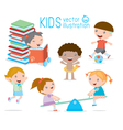happy cartoon kids playing children egucation vector image vector image