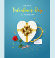 happy valentines day banner flyer poster vector image