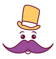 kawaii character with hat and mustache vector image vector image