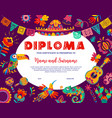 kids diploma with mexican animals and flowers vector image vector image