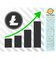 litecoin growing chart trend flat icon with bonus vector image vector image