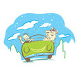 Man and dog travel with car in holiday vector image vector image